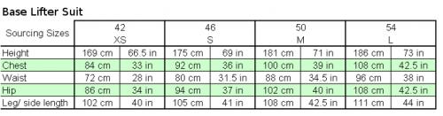 adidas base lifter suit sizing chart