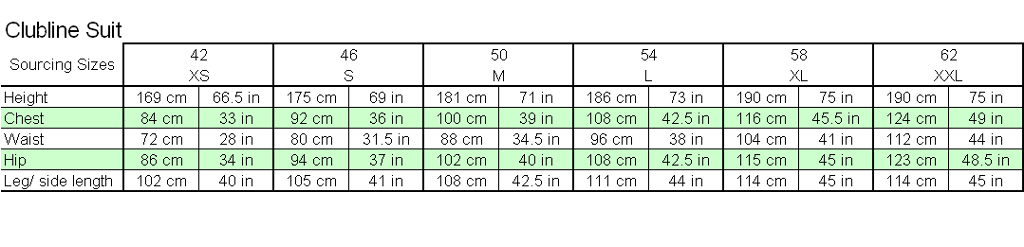 adidas Clubline Weigtlifting Suit sizing Chart
