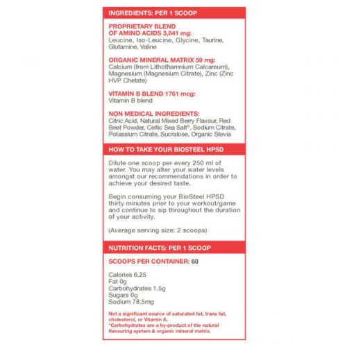 BioSteel HPSD Nutrition info