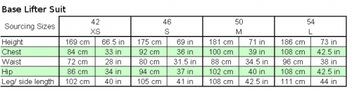 adidas base lifter suit sizing chart