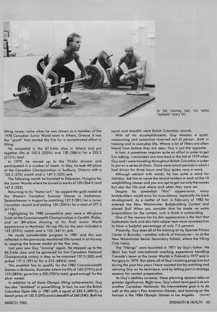 Strength & Health Article Guy Greavette