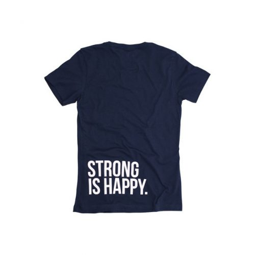 Eleiko Women's Navy T-Shirt Strong is Happy