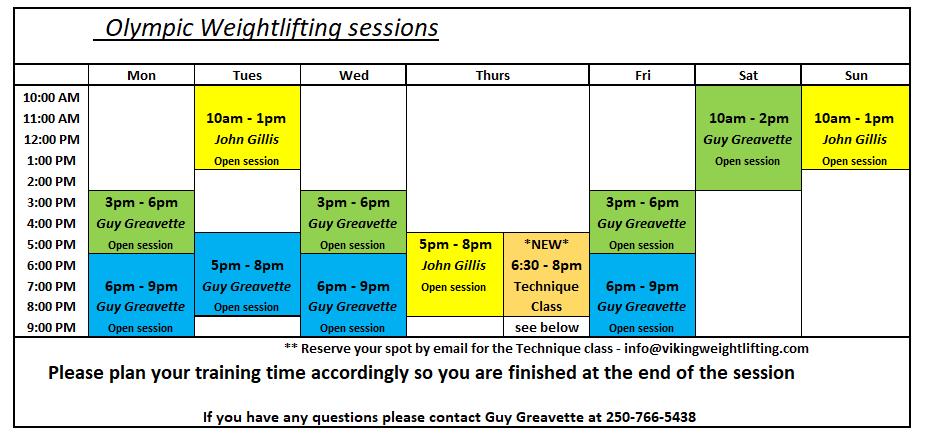 Weightlifting schedule new