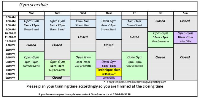 Viking Weightlifting club schedule