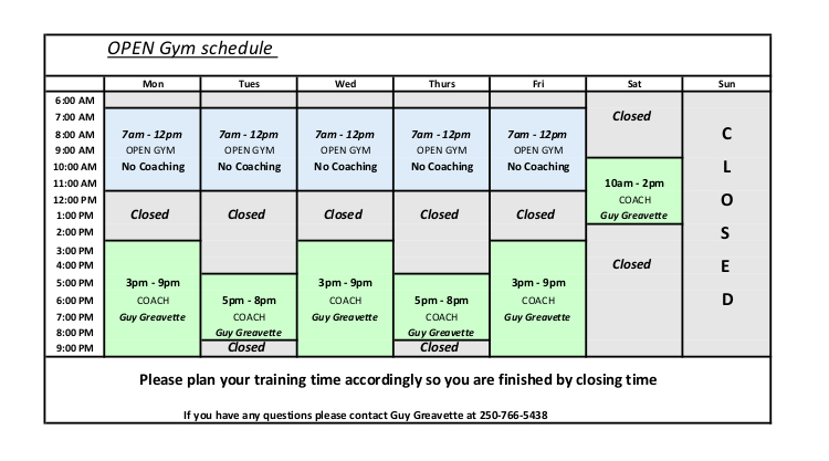 Vikings Club Schedule May 2019